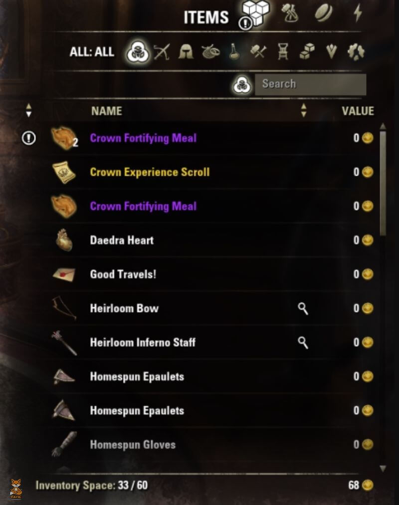 ESO Stock Inventory Only